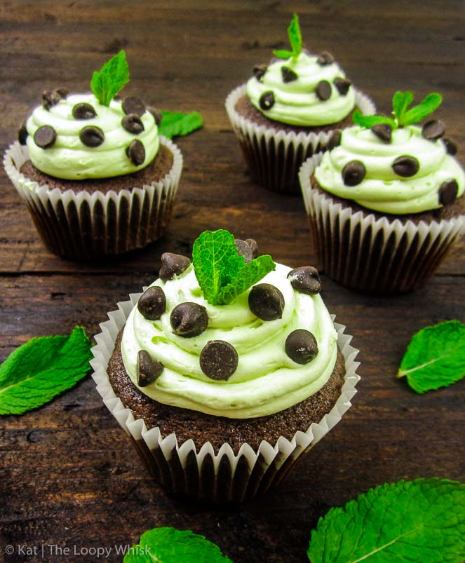 Mint Chocolate Chip Cupcakes - Fluffy cloud-like chocolate cupcakes, silky-smooth mint buttercream, and extra chocolate chips. These mint chocolate chip cupcakes are dressed-to-impress and oh-so-delicious.