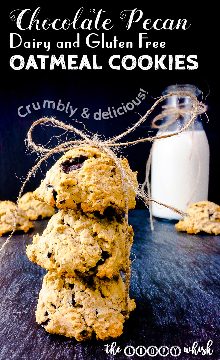 Chocolate Pecan Dairy and Gluten Free Oatmeal Cookies - Perfectly crumbly, incredibly easy and quick to make, and almost dangerously delicious, these gluten free oatmeal cookies hit the spot just right. They have it all – the taste, the textures, the smell… and you will want to make them again and again. And again.
