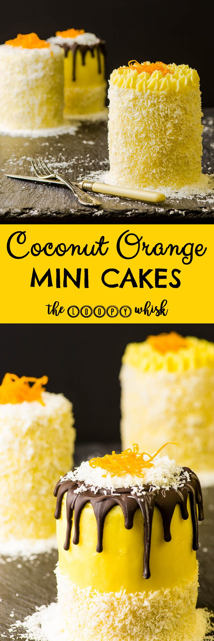 Coconut Orange Mini Cakes - They may be mini, but they have the taste of a cake giant. Fluffy yet dense sponge chock-full of dessicated coconut. Silky and rich ultra orange-y buttercream. Smooth orange curd with just the right amount of tartness. Textures galore. These mini cakes have the ability to transport you to an exotic island where you can enjoy the feeling of sand between you toes and the heat of the sun on your skin, all in a single bite.
