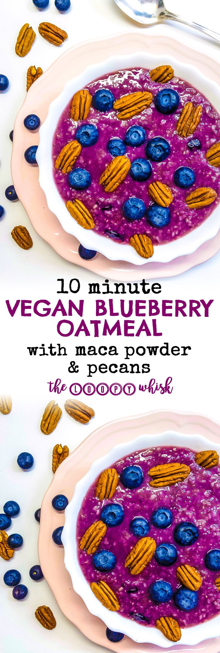 Vegan Blueberry Oatmeal with Maca Powder and Pecans - Chock-full of healthy fats, minerals, vitamins and fibre, this 10 minute vegan blueberry oatmeal with maca powder and pecans tastes just like blueberry pie. The ideal healthy oatmeal recipe for a nutritional powerhouse of a meal that still tastes like dessert.