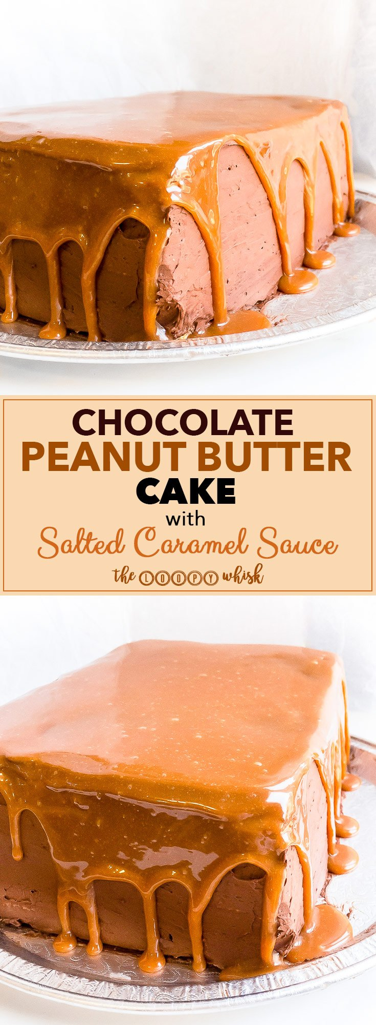 Chocolate Peanut Butter Cake with Salted Caramel Sauce - This delicious sweet treat combines everyone's favourite flavours into one amazingly tasty and scrumptious looking drip cake. Layers of airy but moist peanut butter sponge are sandwiched between decadent silky chocolate buttercream, and the salted caramel sauce adds the finishing touch.