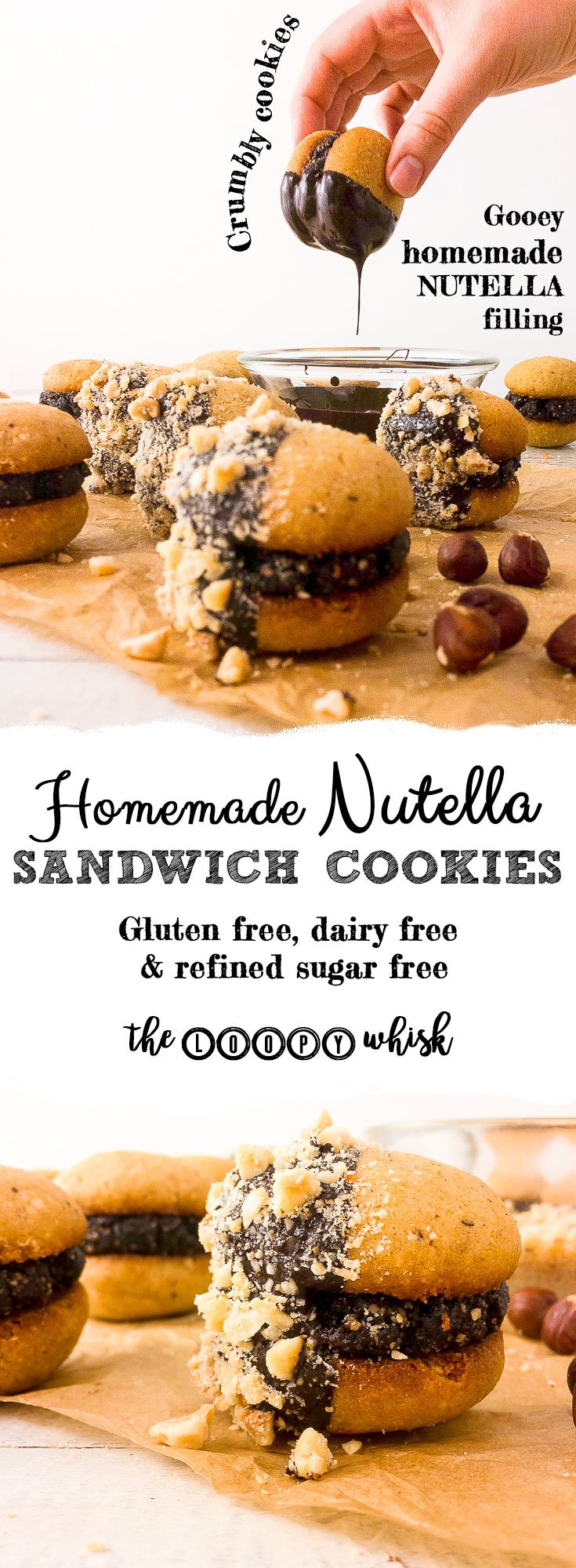 """Nutella"" Hazelnut Chocolate Sandwich Cookies - Gooey homemade Nutella filling joins crumbly hazelnut cookies in these sandwich cookies. Because two cookies are always better than one, and who in their right mind would ever say no to homemade Nutella?"