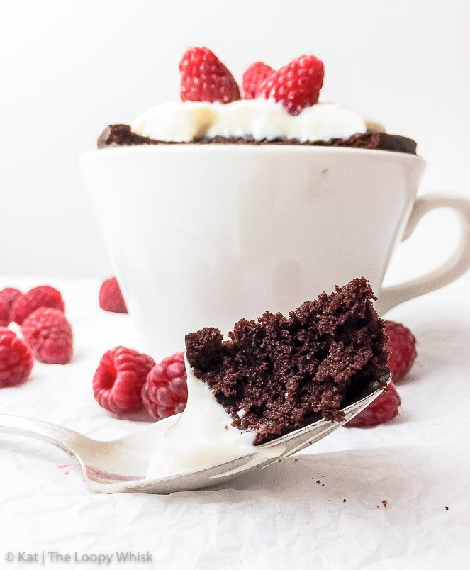 5-Minute Chocolate Gluten Free Mug Cake {gluten, dairy, nut, soy & refined sugar free} - This super quick and easy chocolate gluten free mug cake recipe ensures that when the craving strikes, you can feast on an incredibly fluffy, moist and decadent cake in 5 minutes flat. This single serving microwave cake recipe also means that the cake is yours, and yours alone. I know, you're welcome.