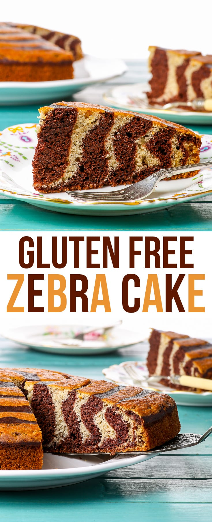 Gluten Free Zebra Cake - This fun and delicious gluten free zebra cake is super easy to make and bound to impress just about anyone. Chocolate and vanilla cake batters meet this delicious marbled cake. A perfect gluten free dessert on its own or frosted in buttercream, dusted with icing sugar, or smothered in chocolate ganache. Gluten free cake recipe. Cake ideas. Easy desserts. Easy cake recipes. #glutenfree #cake #dessert #recipe #food
