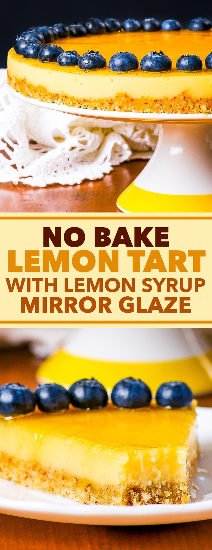 No Bake Lemon Tart with Lemon Syrup Mirror Glaze {gluten, soy & peanut free, dairy free option} - This wonderful no bake lemon tart is an ode to all things lemon. The cookie crumb crust is sweet and crunchy, the lemon filling is refreshing and the lemon syrup mirror glaze elevates the dessert to super fancy heights. Additionally, this gluten free no-bake dessert is incredibly easy to prepare, and has a dairy free option.