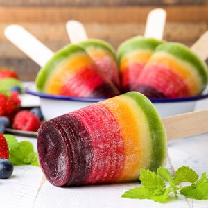 Healthy 100% Natural Rainbow Popsicles {gluten, dairy, egg, nut, soy & refined sugar free, vegan & paleo} - These healthy rainbow fruit popsicles are 100% natural, made with no artificial dyes or food colourings. Just wholesome, plant-based ingredients. They are gluten, dairy and refined sugar free, as well as vegan and paleo. But most importantly, these fruit popsicles are absolutely delicious – the perfect refreshing summer ice cream treat.