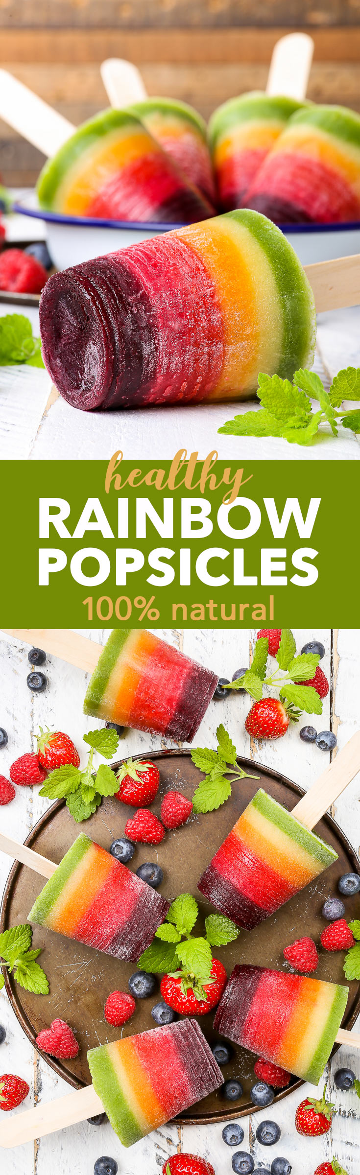 Healthy 100% Natural Rainbow Fruit Popsicles {gluten, dairy, egg, nut, soy & refined sugar free, vegan & paleo} - These healthy rainbow fruit popsicles are 100% natural, made with no artificial dyes or food colourings. Just wholesome, plant-based ingredients. They are gluten, dairy and refined sugar free, as well as vegan and paleo. But most importantly, these fruit popsicles are absolutely delicious – the perfect refreshing summer ice cream treat.