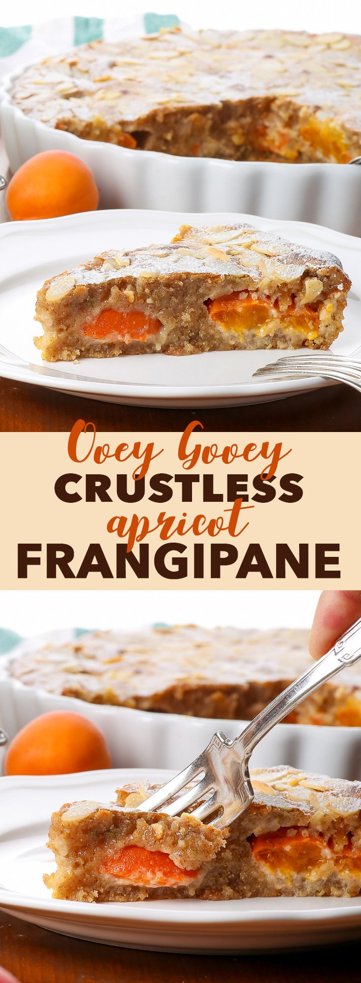 Ooey Gooey Crustless Apricot Frangipane Tart {gluten, soy & peanut free} - This crustless apricot frangipane tart is basically just everyone's favourite part of any tart – the filling! It really is ooey and gooey and everything else buttery and decadent. The recipe is easy and gluten free, and the flavour combination of slightly tart apricots, almonds and aromatic lemon thyme will blow you away.