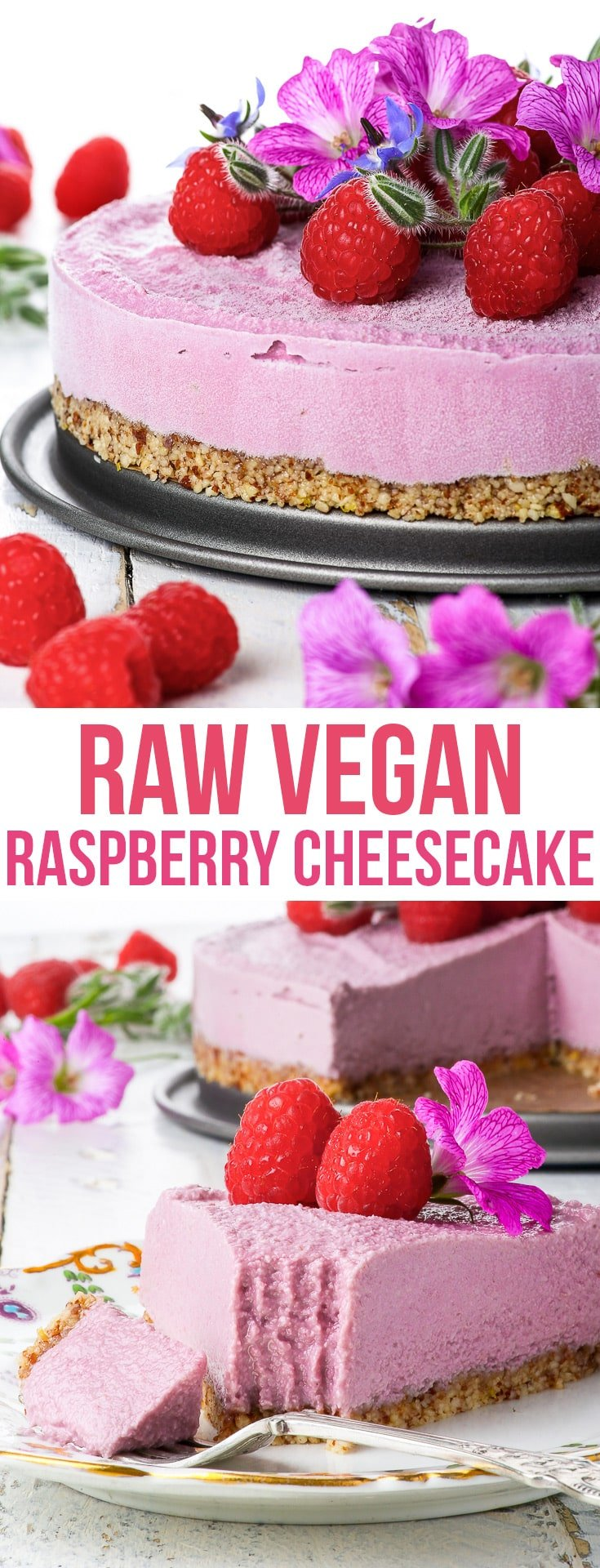 Raw Vegan Raspberry Cheesecake {gluten, dairy, egg, soy, peanut & refined sugar free, vegan, paleo} - This raw vegan cheesecake is the perfect summer dessert: creamy, refreshing and perfectly balanced due to the slight tartness of the raspberries. With a crunchy almond tart crust and a creamy raspberry cashew cream layer. This healthy no-bake dessert couldn't be easier to make! Vegan dessert recipe. Paleo dessert. Healthy recipe. #raw #vegan #paleo #healthyrecipes #dessert #food