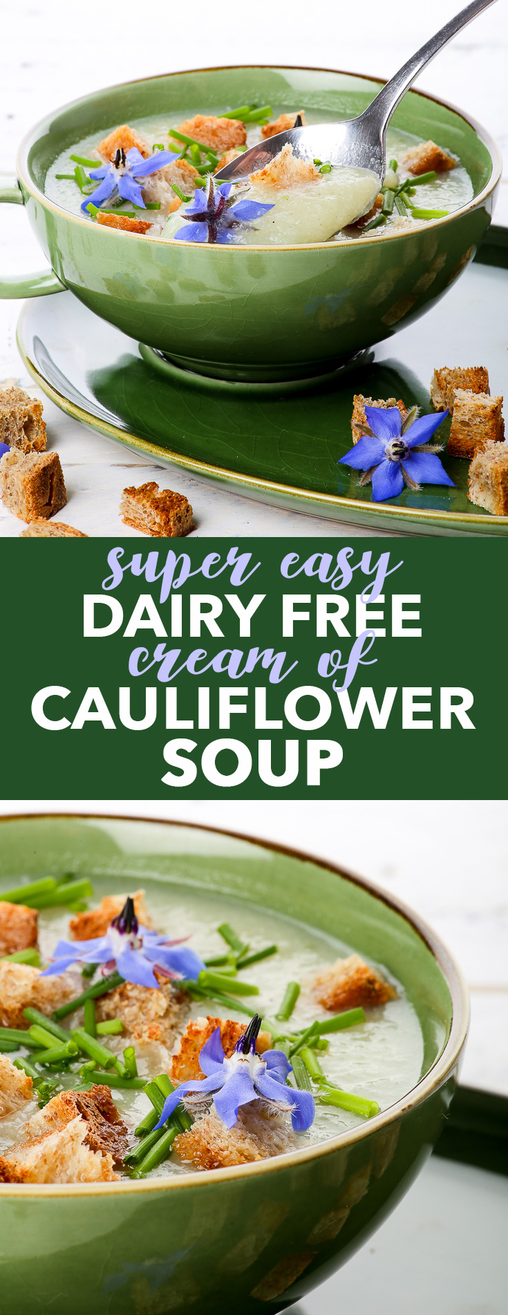 Super Easy Dairy Free Cream of Cauliflower Soup {gluten, dairy, egg, soy, nut & sugar free, vegan, paleo} - This cream of cauliflower soup is super easy and quick to prepare, requiring only 25 minutes. It's gluten and dairy free, healthy and filling, and captures perfectly the meaning of comfort food. The ideal prepare-in-advance lunch or quick dinner.