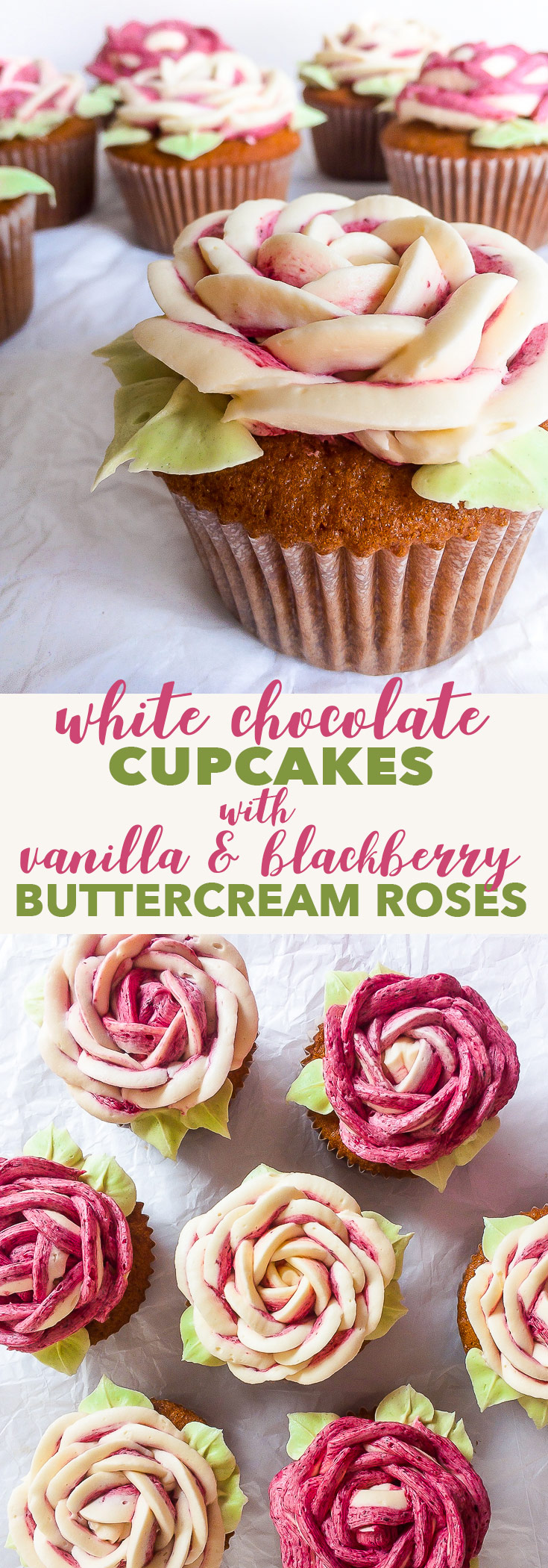 White Chocolate Cupcakes with Vanilla & Blackberry Buttercream Roses {soy & nut free, gluten free option} - These white chocolate cupcakes with vanilla & blackberry buttercream roses taste amazing and look even better. Despite looking ridiculously impressive, the buttercream roses are actually easy and quick to make, even if you haven't made them before. There's also a gluten free option!