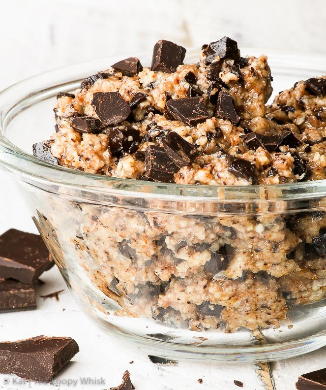 Gluten Free Vegan Chocolate Chip Cookie Dough {gluten, dairy, egg, soy, nut & refined sugar free, vegan, paleo} - This vegan cookie dough is the perfect treat for when you are craving the buttery deliciousness of chocolate chip cookie dough, but want to eat something reasonably healthy at the same time. It's gluten, dairy and refined sugar free, as well as vegan and paleo – but most importantly: it's super delicious.
