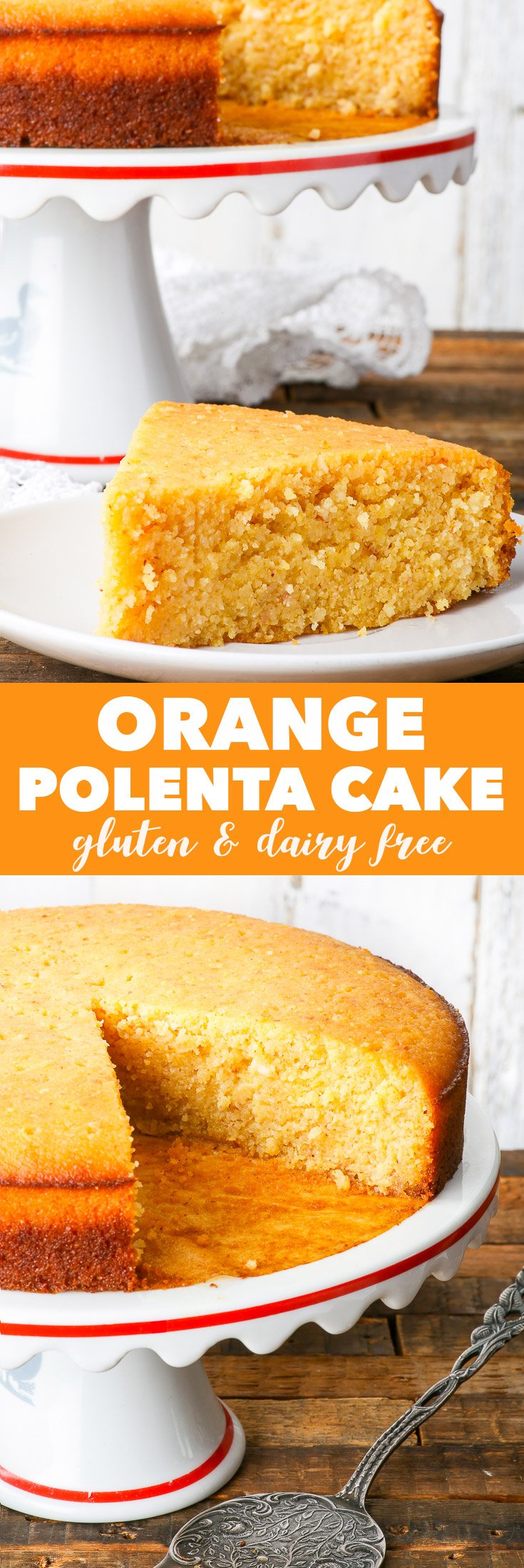 Gluten & Dairy Free Orange Polenta Cake {gluten, dairy, soy, peanut & ref. sugar free} - This gluten and dairy free orange polenta cake is supercharged with citrusy goodness. It's soft and dense, moist and crumbly, and most certainly delicious. The cake is soaked with an orange and lime syrup, which brings it to a whole new level.