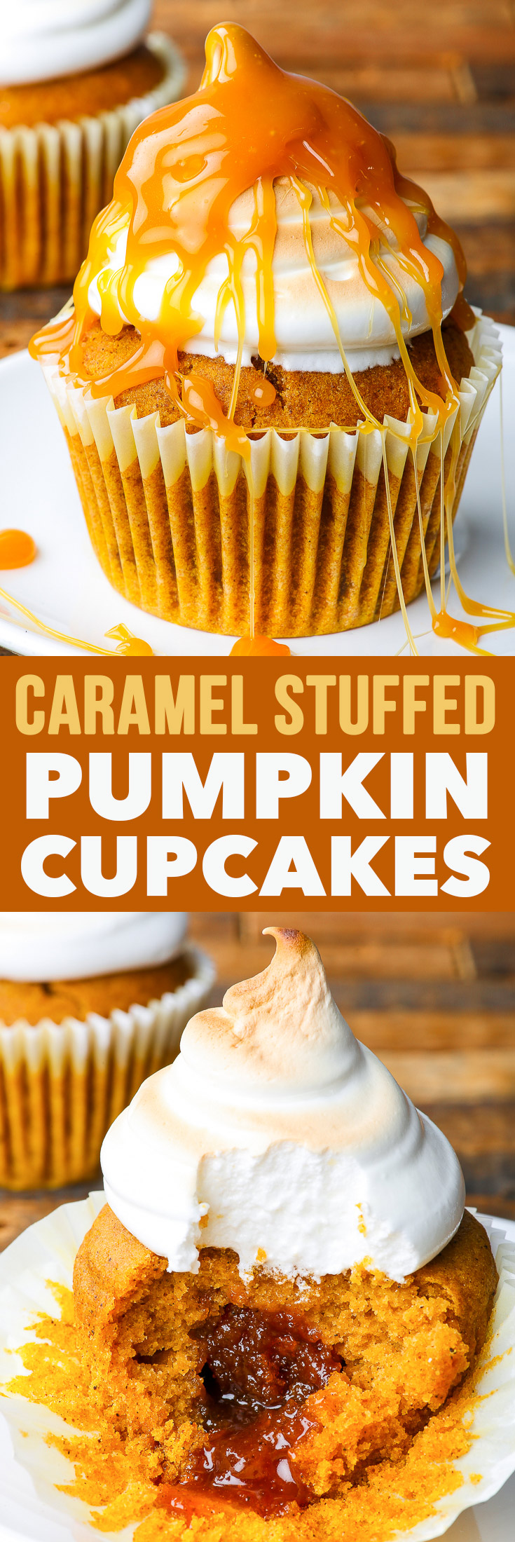 Dairy & Gluten Free Caramel-Stuffed Pumpkin Cupcakes with Marshmallow Frosting {gluten, dairy, nut & soy free} - These dairy and gluten free pumpkin cupcakes are the ultimate fall dessert. Stuffed with homemade caramel and topped with a sweet, fluffy marshmallow frosting, they will make your taste buds all sorts of happy. #pumpkindessert #pumpkincupcakes #caramel #homemadecaramel #dairyfree #glutenfree