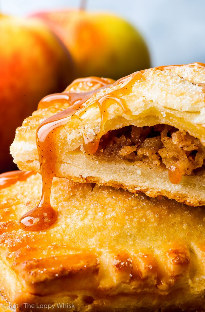 Gluten Free Caramel Apple Hand Pies {gluten, nut & soy free, egg free option} - These caramel apple hand pies are the perfect gluten free dessert or snack, no matter the occasion. They are super easy to make, and come out perfectly sweet, flaky and buttery every time. And the caramel… well, that brings this wonderful fall dessert to a whole new level!