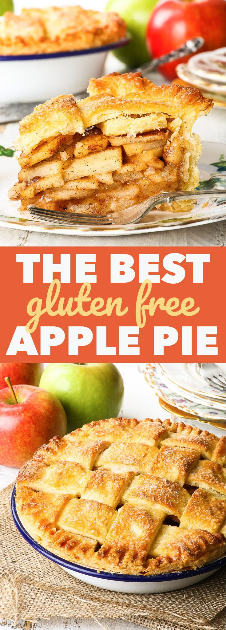 Gluten Free Apple Pie {gluten, nut & soy free, egg free version} - This gluten free apple pie is the real deal – with a flaky, buttery gluten free pie crust and a delicious apple pie filling with a kick of cinnamon and an underlying tone of caramel. Where does the caramel come in? Read on, and you'll find out. Trust me, you won't be disappointed! The perfect fall dessert recipe, super easy to make… and even easier to eat.