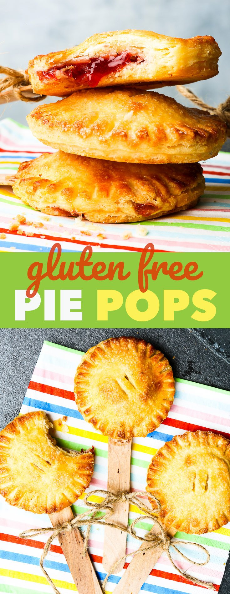 Gluten Free Pie Pops {gluten, soy & nut free, egg free version} - These gluten free pie pops are the perfect back to school (or work) snack for kids – be they small ones or big ones. Perfectly flaky, buttery gluten free pie crust pastry meets simple, but yummy strawberry jam filling – in a dessert-snack that couldn't be easier to make! (Psst, there's a video with step-by-step instructions, as well!)