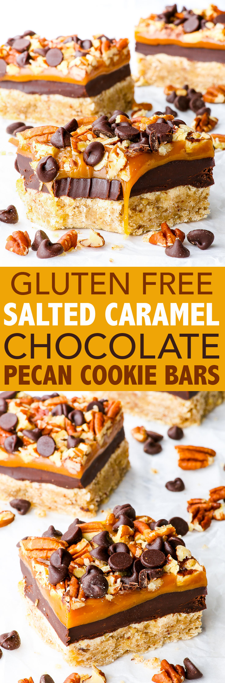 Salted Caramel and Chocolate Pecan Cookie Bars {gluten, peanut & soy free} - These gluten free salted caramel chocolate cookie bars will take your breath away and leave you craving more. There's four layers: pecan cookie, chocolate ganache, salted caramel and chopped pecans + chocolate chips. Perfect gluten free fall dessert. #saltedcaramel #cookiebars #chocolatechipcookies #glutenfree