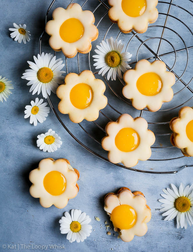 Lemon Curd Daisy Sandwich Cookies The Loopy Whisk