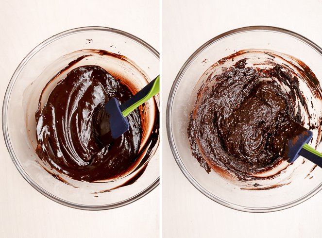A bowl of luscious melted chocolate with cocoa powder, coconut oil and maple syrup. After almond flour addition, the chocolate mixture is dense and fudgy.