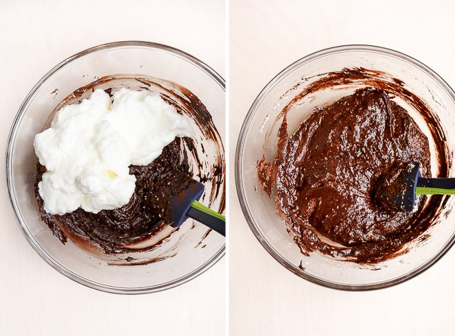 A bowl with the fudgy chocolate mixture, with a small amount of the whipped egg whites. A bowl of the super smooth, glossy chocolate cake batter after the small amount of egg whites has been mixed in.