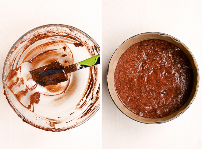 The empty bowl of the healthy flourless chocolate cake batter, with a dirty spatula. The filled cake tin, just before it goes into the oven.