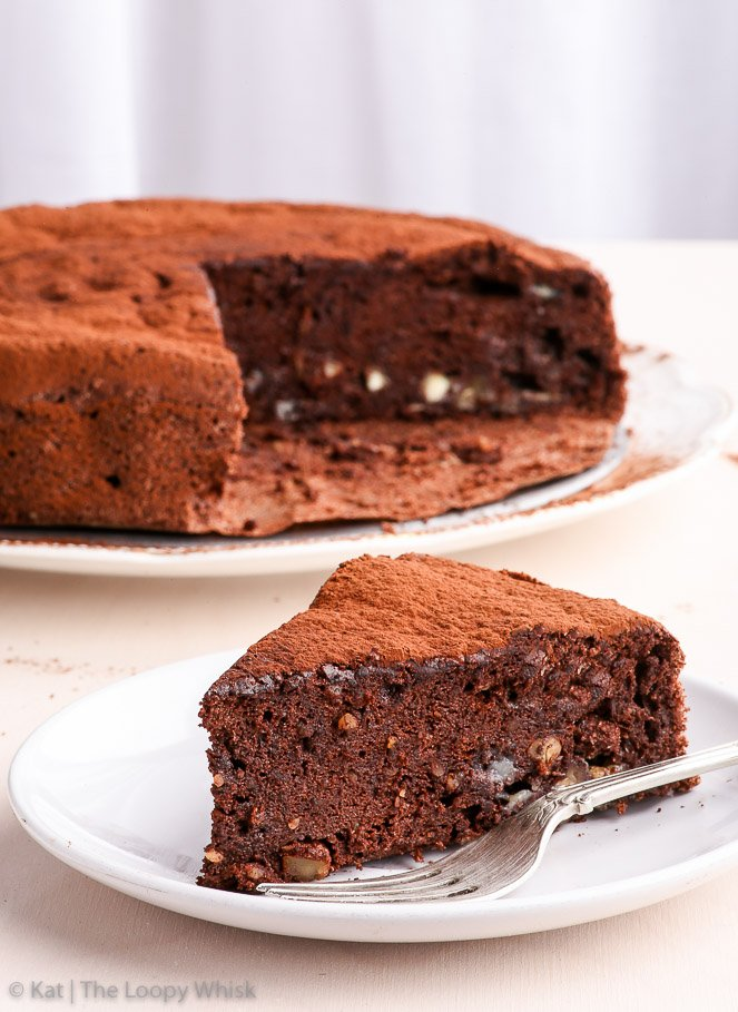 A Slice Of The Easy Healthy Flourless Chocolate Cake With Whole In