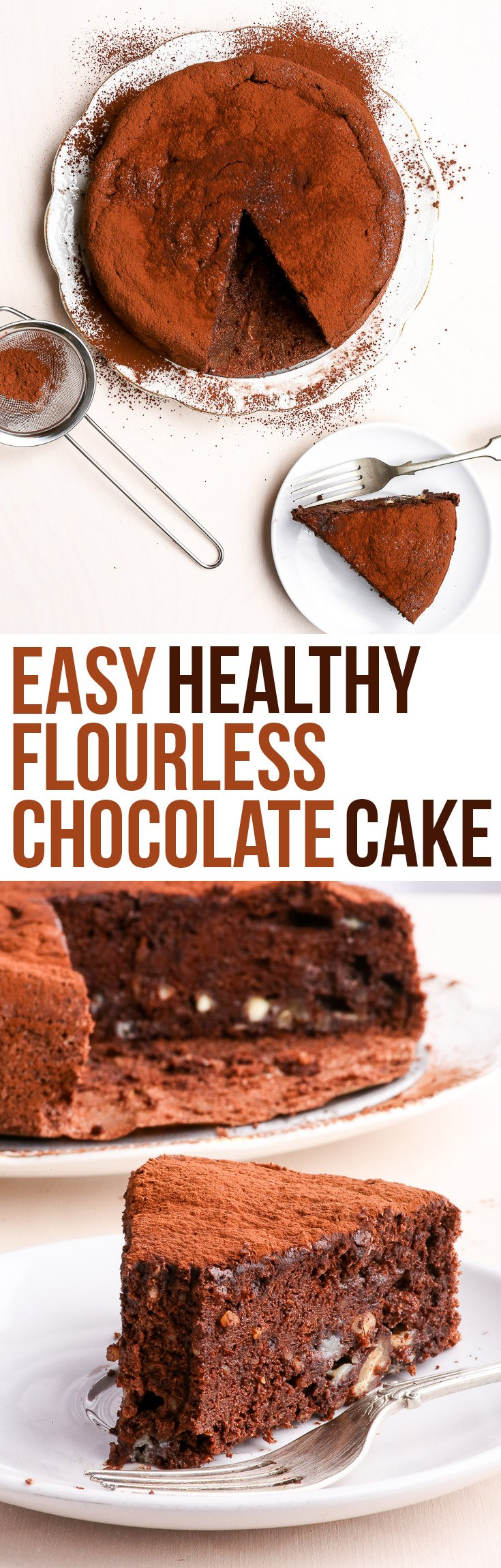 Easy & Healthy Flourless Chocolate Cake with Pecans {gluten, dairy, peanut, soy & refined sugar free, paleo} - This healthy flourless chocolate cake will blow minds and make (many) new friends. The prefect dessert to make with leftover egg whites, it's gluten and dairy free, as well as paleo. Super chocolatey and ridiculously delicious, it's bound to impress!