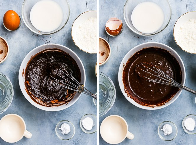 Making the healthy paleo chocolate cake. Mixing together melted coconut oil, honey and cocoa powder gives a shiny, luscious melted chocolate-like mixture that is quite dense. The addition of eggs loosens it up and makes it even more luscious.
