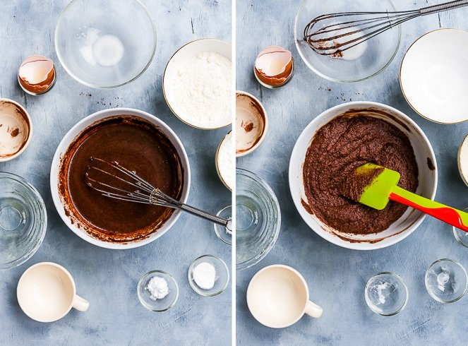 The healthy paleo chocolate cake batter after the addition of almond milk, looking like decadent hot chocolate. The final chocolate cake batter in a bowl with a spatula.
