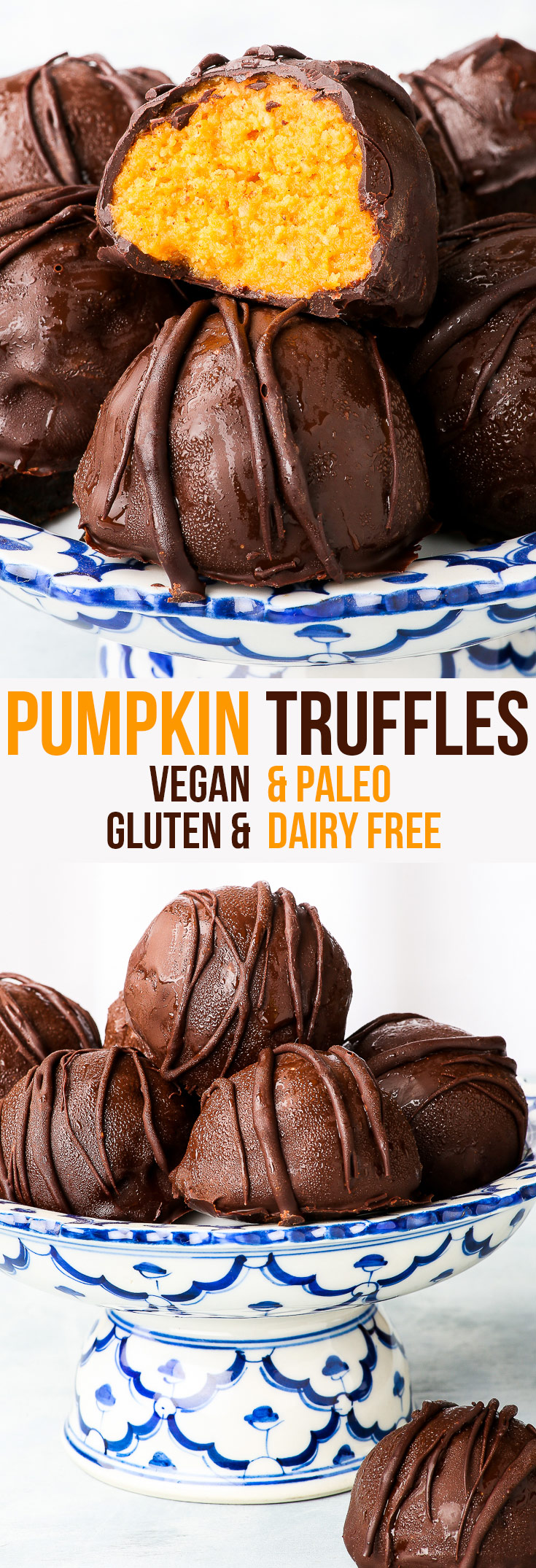 Vegan & Paleo No-Bake Pumpkin Truffles {gluten, dairy, egg, peanut, soy & refined sugar free, vegan, paleo} - A simple and healthy recipe for no-bake pumpkin truffles, which couldn't be more scrumptious if they tried. Vegan and paleo pumpkin filling in the centre with a coating of dark chocolate. The perfect healthy fall dessert.