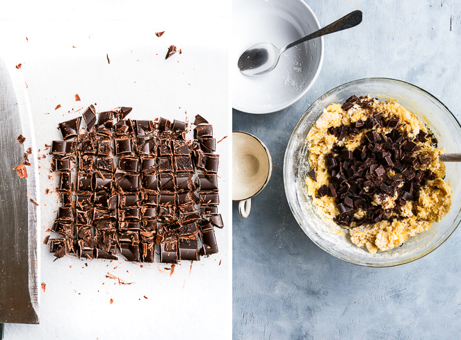 Left: Chopped dark chocolate on a white chopping board with a knife lying nearby. Right: Chopped chocolate has just been added to the gluten free cookie dough, but it hasn't been mixed in yet.