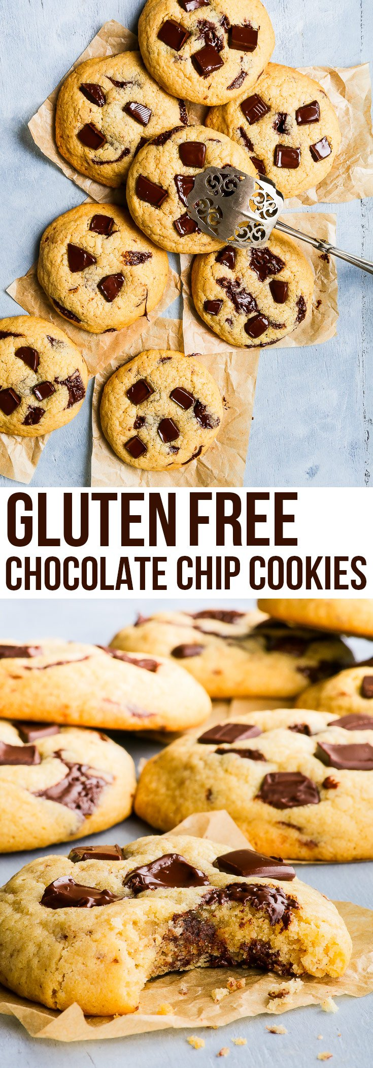 These gluten free chocolate chip cookies are deliciously soft, buttery and sweet, with bursts of chocolate in every mouthful. The perfect easy gluten free dessert. #chocolatechipcookie #glutenfree