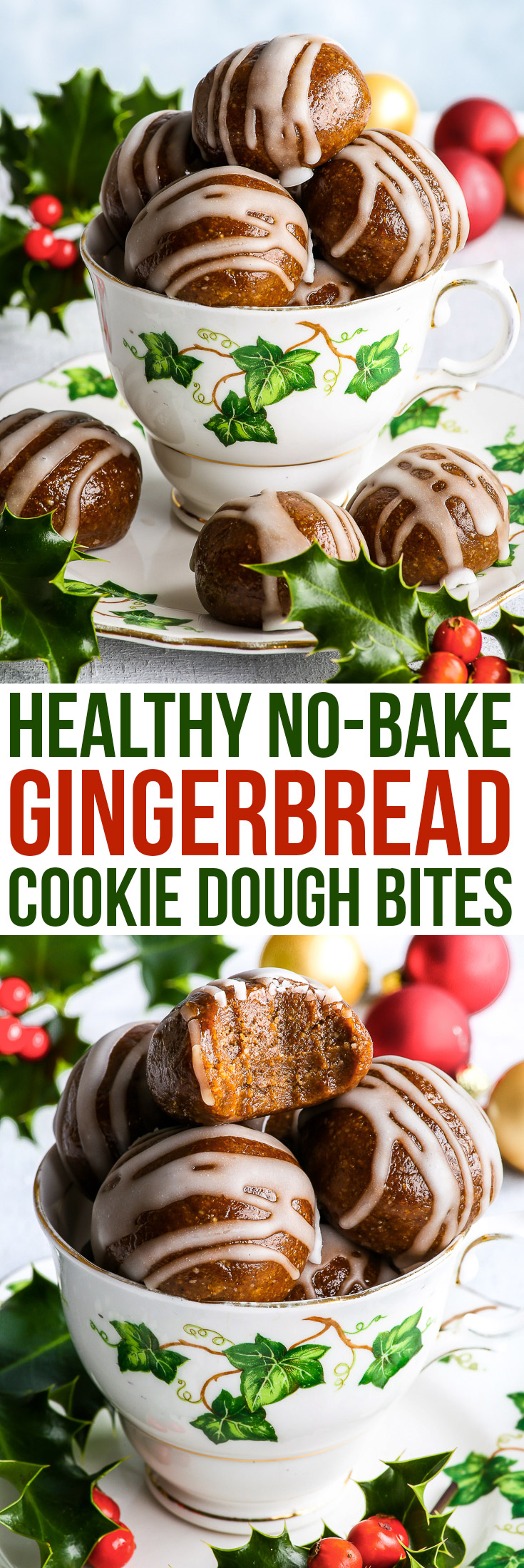 Healthy No-Bake Gingerbread Cookie Dough Bites {gluten, dairy, egg, peanut, soy & refined sugar free, vegan, paleo} - These no-bake gingerbread cookie dough bites are the perfect healthy Christmas dessert or snack. Easy and quick to make, they take only 15 minutes to prepare. And while they may be healthy – they are also super rich, buttery, sweet, aromatic and utterly decadent! (Plus, they make the most amazing edible DIY Christmas gift!)