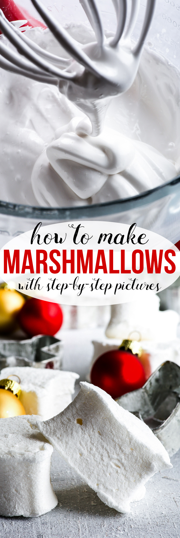 How To Make Marshmallows {gluten, dairy, egg, nut & soy free} - A step-by-step guide on how to make delicious homemade marshmallows – with step-by-step pictures! Super easy basic marshmallow recipe, super fun to make with kids. These homemade marshmallows make the perfect edible DIY Christmas gift! #diygift #christmas #marshmallows #recipe
