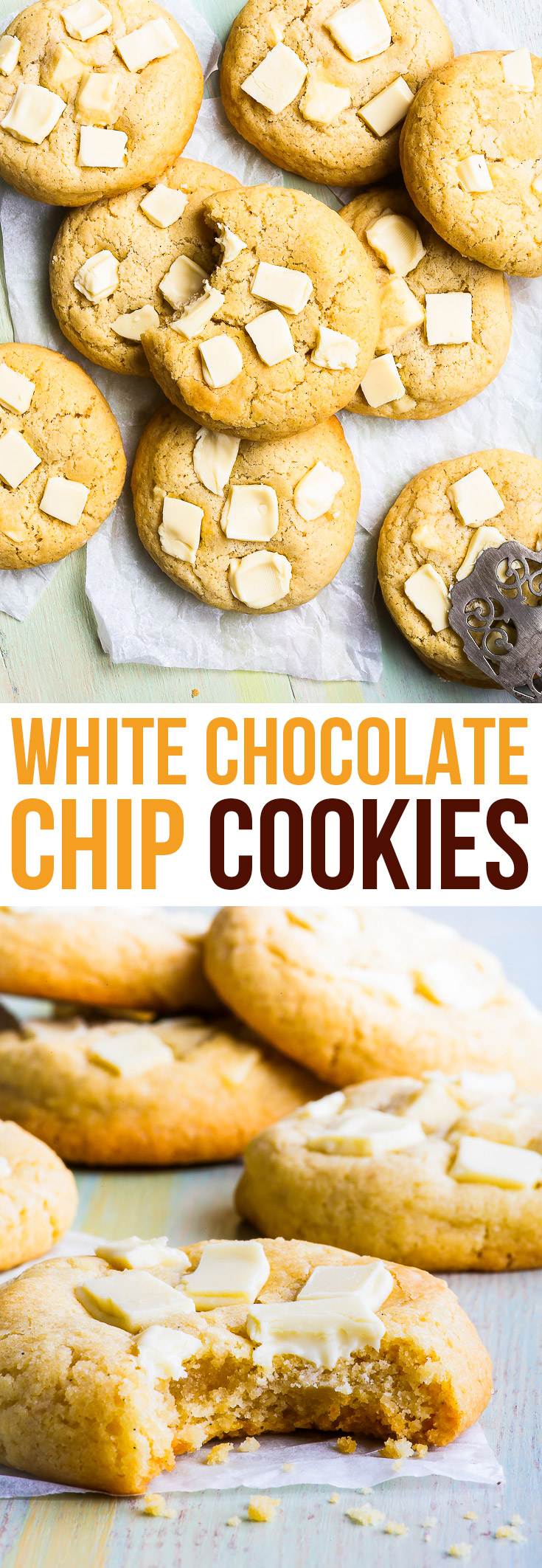 Gluten Free White Chocolate Chip Cookies {gluten, soy & nut free} - You will LOVE these gluten free white chocolate chip cookies. With a chewy, gooey buttery centre and crispy, caramelised edges, they simply couldn't be more delicious. A super easy chocolate chip cookie recipe, perfect as an edible DIY gift! #cookies #glutenfree #chocolate