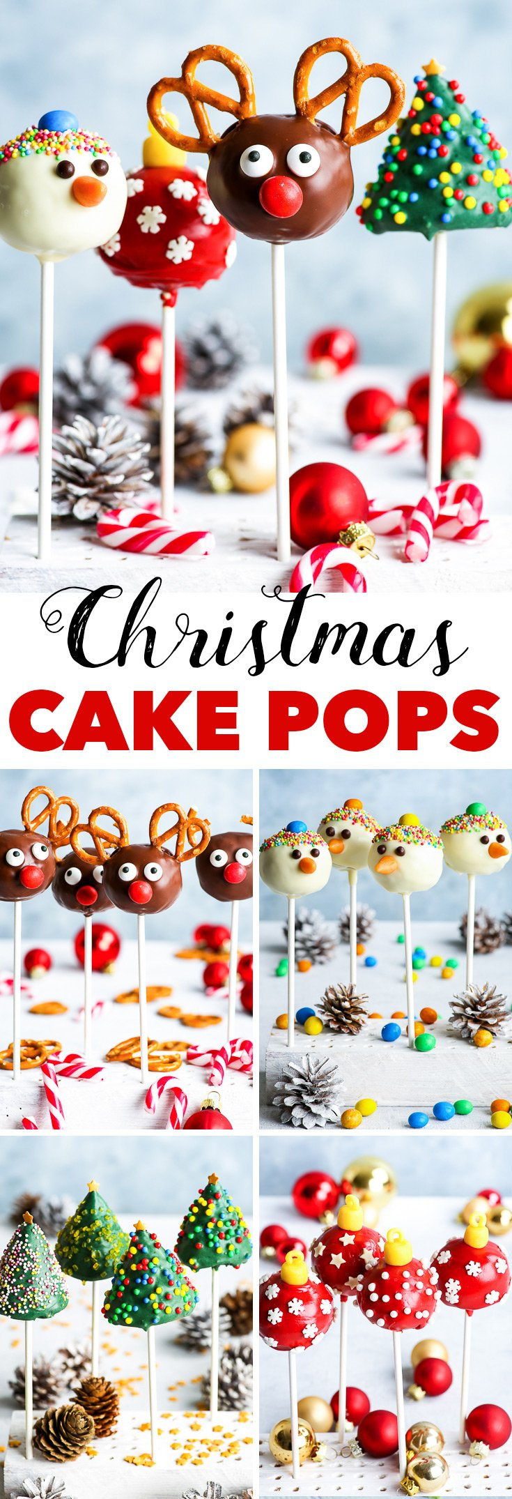 Gluten Free Christmas Cake Pops 4 Ways - Four variations of gluten free Christmas cake pops, each one more adorable than the other. Rudolph cake pops / reindeer cake pops, Christmas tree cake pops, snowman cake pops and Christmas bauble cake pops. The perfect holiday dessert, a super easy Christmas dessert recipe. Also a perfect DIY Christmas dessert. #cakepops #glutenfree #diygift #christmasdesserts