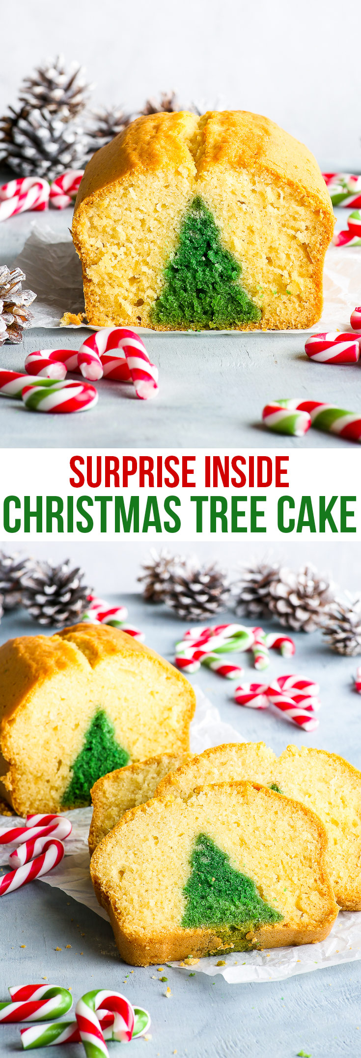Surprise Inside Christmas Tree Cake {gluten, nut & soy free, dairy free option} - This Christmas tree cake may look intimidating, but is actually super easy to make! A surprise inside cake that takes a simple loaf cake and transforms it into a work of art – and with no fuss or fancy equipment! This is the simple, yet impressive, Christmas dessert recipe everyone should have up their sleeves.