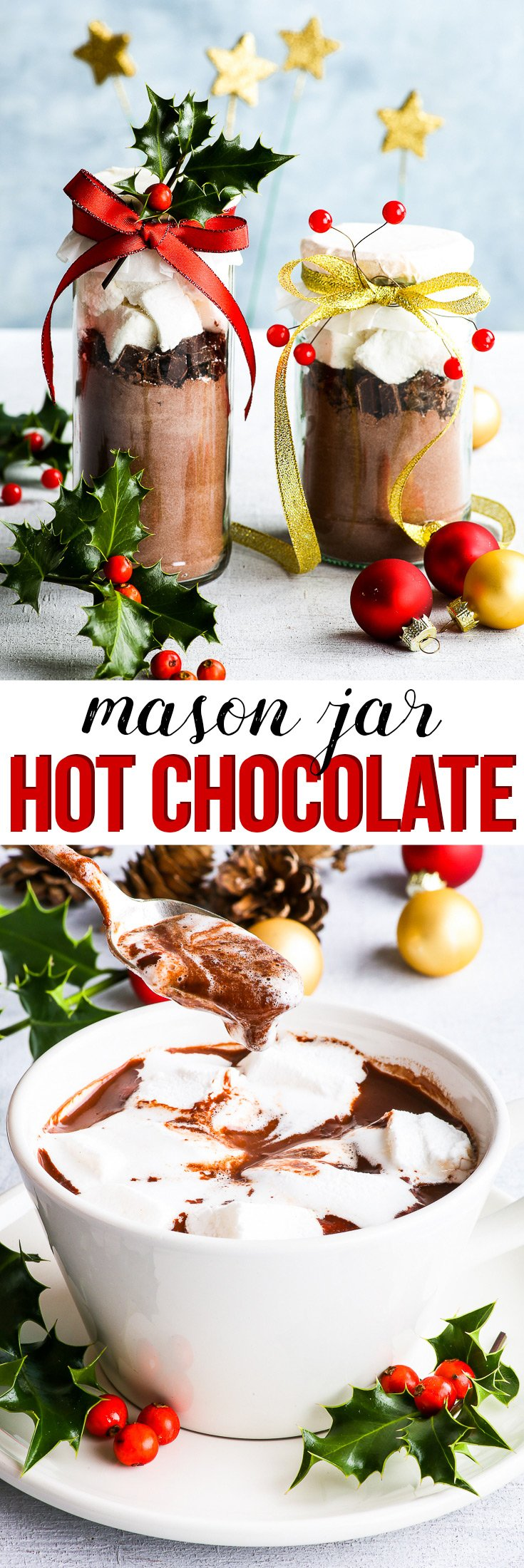 Mason Jar Hot Chocolate DIY Christmas Gifts {gluten, dairy, egg, nut & soy free} - This mason jar hot chocolate makes the perfect edible DIY Christmas gift. With a simple hot chocolate mix, chopped dark chocolate and homemade marshmallows, this simple yet thoughtful DIY gift will be loved by all – even the grinchiest of Grinches! #christmas #diygift #masonjar #chocolate