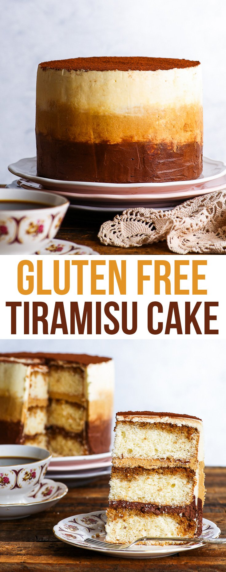 Gluten Free Tiramisu Cake - This gluten free tiramisu cake is a celebration of the best chocolate + coffee dessert out there: the one and only tiramisu. With fluffy gluten free genoise sponge generously soaked with coffee and a super pretty ombre mascarpone buttercream frosting, this gluten free layer cake couldn't be prettier. Gluten free ombre cake. Tiramisu Ombre cake. #cake #glutenfree #chocolate #coffee #dessert #tiramisu