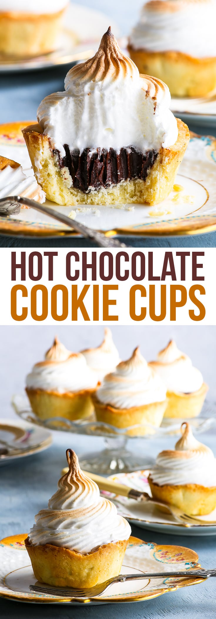 Gluten Free Hot Chocolate Cookie Cups - These hot chocolate cookie cups are easy to make and guaranteed to impress. The buttery, slightly crumbly gluten free cookie cups are complemented perfectly by the rich, decadent chocolate ganache and the sweet, fluffy marshmallow swiss meringue. The perfect gluten free dessert! #cookiecups #chocolate #meringue #dessert #glutenfree