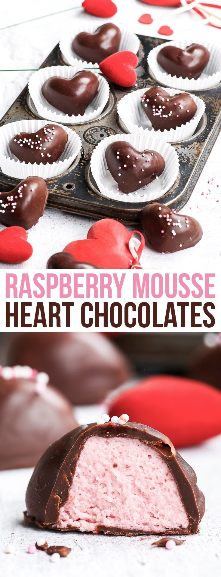 4-Ingredient Raspberry Mousse Heart Chocolates {gluten, nut & soy free, dairy free & vegan option} - 4 simple ingredients are all you need to make these incredibly delicious raspberry mousse heart chocolates. The perfect Valentine's day (or every-day just-because) dessert to share with your loved ones. Cute heart truffles - perfect romantic dessert. #chocolate #raspberry #recipe #valentinesday #valentines #truffles #dessert