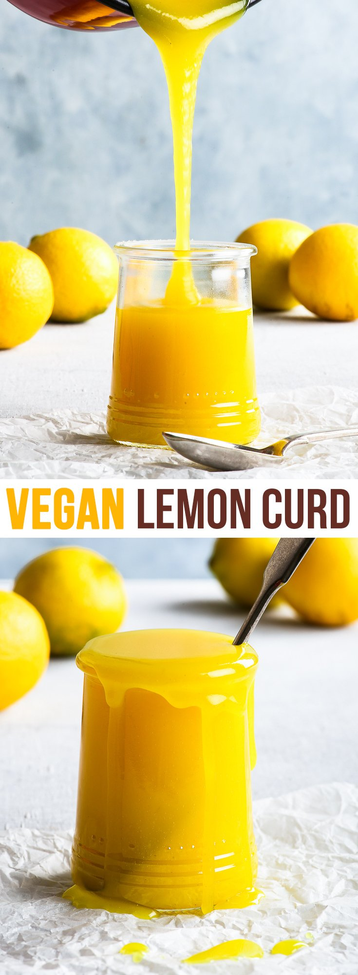 Vegan Lemon Curd {gluten, dairy, egg, nut & soy free, vegan} - This vegan lemon curd is the real deal. Lemony, luscious, and with a perfect balance between tart and sweet, it also has that perfect lemon curd consistency. And, perhaps most importantly, it has that beautiful golden yellow colour of a proper lemon curd. The best egg free lemon curd you've ever had! #vegan #glutenfree #lemon #lemoncurd #dessert #recipe