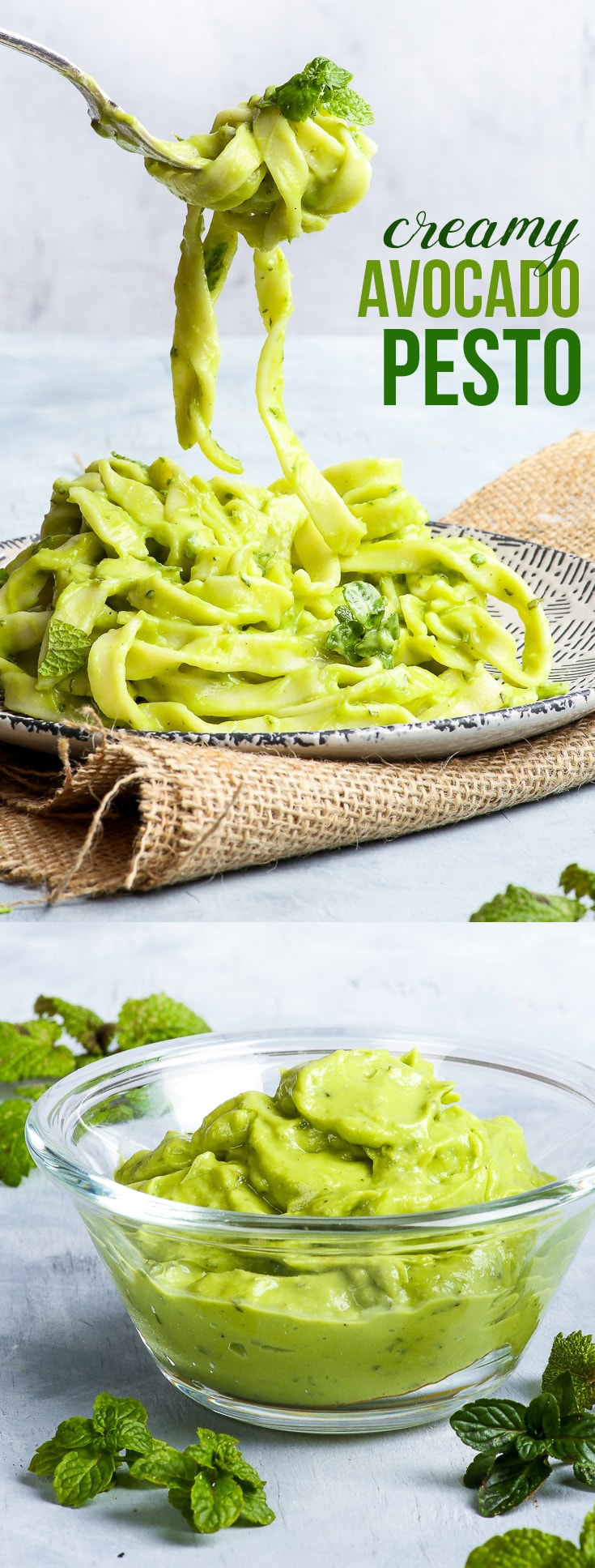 Creamy 4-Ingredient Avocado Pesto {gluten, dairy, egg, nut, soy & refined sugar free, vegan, paleo} - This creamy avocado pesto requires just 4 ingredients (two of which are salt and pepper!) and only 5 minutes to make. In combination with homemade gluten free pasta, it makes the perfect filling, nourishing, quick mid-week meal. It's also perfect in wraps, as a dip, on toast… or on a spoon.