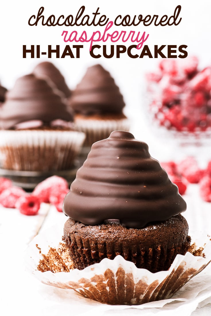 Chocolate-Covered Raspberry Hi-Hat Cupcakes {gluten, nut & soy free} - Making these chocolate-covered raspberry hi-hat cupcakes is like creating art. A thin, gently crunchy dark chocolate shell covers fluffy raspberry-flavoured marshmallow meringue, and moist gluten free chocolate cupcakes complete what is essentially a piece of cupcake heaven. Gluten free cupcakes. Swiss meringue. Gluten free dessert. Easy dessert recipes. Easy cupcake recipes. #glutenfree #dessert #cupcakes #chocolate