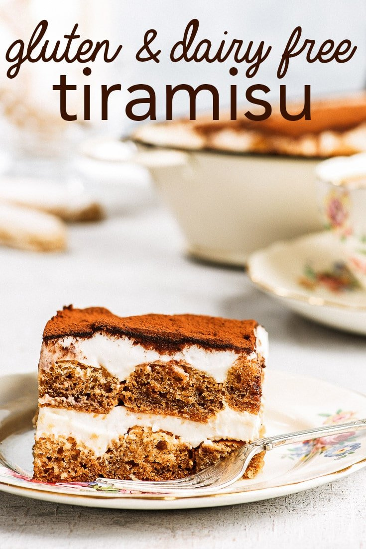Dairy & Gluten Free Tiramisu - This dairy and gluten free tiramisu will change your life. Containing no gluten and no dairy, this tiramisu recipe won't deprive you of any of the taste, texture or coffee-filled decadence of the classic Italian dessert. With homemade gluten free ladyfingers and a coconut cream-based filling. Gluten free dessert. Dairy free dessert. Healthy dessert. Healthy tiramisu. Dairy free tiramisu. Easy dessert recipes. #dessert #tiramisu #glutenfree #dairyfree #recipe