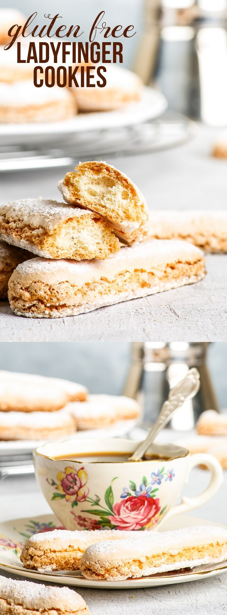 The Perfect Gluten Free Ladyfingers {gluten, dairy, nut & soy free} - Perfect for dunking into a cup of coffee, or for making gluten free tiramisu, these gluten free sponge fingers are the cookie to have in your repertoire. Easy to make and equal (or even better) in all respects to the store-bought version! Gluten free cookies. Gluten free biscuits. Gluten free dessert. Dairy free cookies. Dairy free dessert. Gluten free cookie recipes. #glutenfree #dairyfree #cookies #tiramisu #dessert #recipe