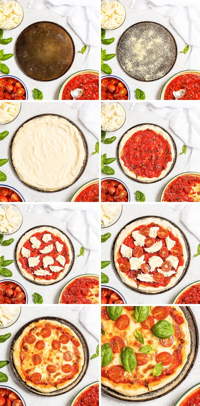A collage of step-by-step pictures about how to make the best gluten free pizza. Shaping the pizza crust, adding the toppings, baking the pizza, sprinkling with fresh basil.