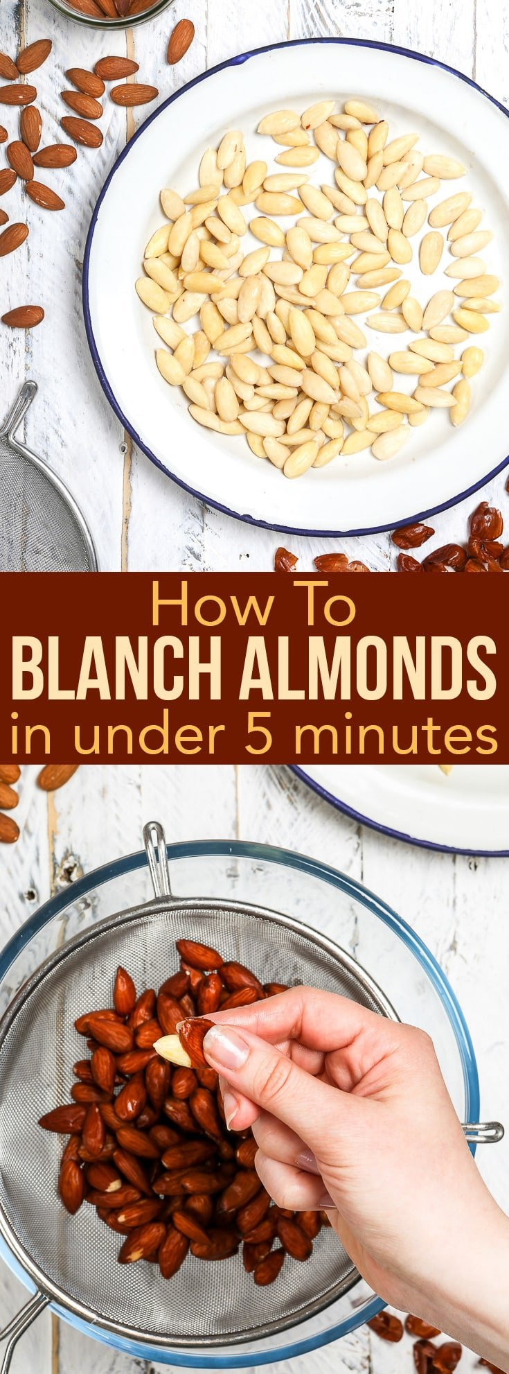 How To Blanch Almonds In Under 5 Minutes: a quick step-by-step guide to blanching almonds. Blanching almonds at home is much more cost-effective than buying them. And with this fool-proof how to blanch almonds guide – it's easier and quicker than ever! Baking tips and tricks. Blanched almonds. Ground almonds. Almond flour recipes. Almond recipes. Almond desserts. Almond dessert recipes. Baking ideas. Easy recipes. #recipe #easyrecipe #howto #diy