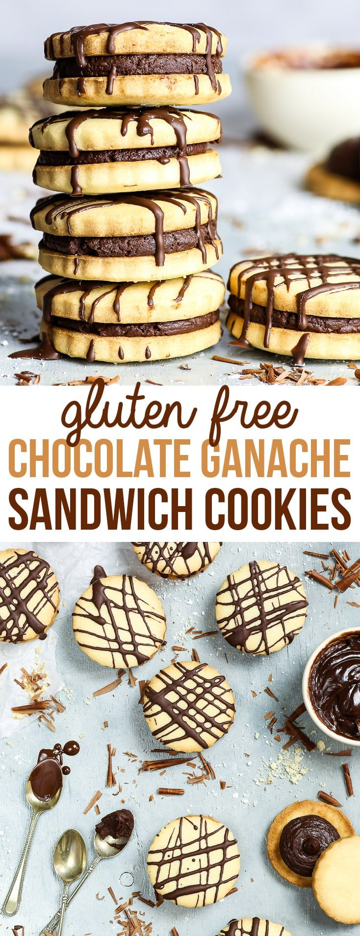 Gluten Free Chocolate Sandwich Cookies - You'll love these gluten free chocolate sandwich cookies, with their decadent, rich dark chocolate ganache filling and the crumbly, buttery gluten free cookies. They're super simple to make and look absolutely amazing – like something straight out of a food magazine! Easy gluten free dessert recipe. Chocolate cookies. Cookie sandwich. #glutenfree #recipe #cookies #chocolate #dessert #food